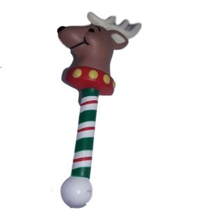 Fun Reindeer on a Christmas pole brooch pin